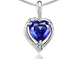 Tommaso Design Heart Shape Created Sapphire and Diamond Pendant