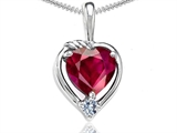 Tommaso Design™ Heart Shape 6mm Created Ruby and Diamond Pendant style: 302697