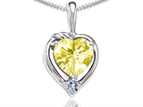 Tommaso Design™ Heart Shape Genuine Lemon Quartz and Diamond Pendant