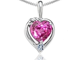 Tommaso Design Heart Shape Created Pink Sapphire and Diamond Pendant