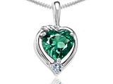Tommaso Design Heart Shape Simulated Emerald and Diamond Pendant