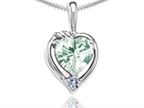 Tommaso Design™ Heart Shape Genuine Green Amethyst and Diamond Pendant style: 302701