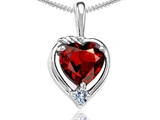 Tommaso Design™ Heart Shape Genuine Garnet and Diamond Pendant