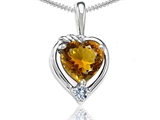 Tommaso Design™ Heart Shape Genuine Citrine and Diamond Pendant