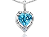 Tommaso Design Heart Shape Genuine Blue Topaz and Diamond Pendant