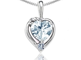 Tommaso Design™ Heart Shape Genuine Aquamarine and Diamond Pendant