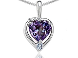 Tommaso Design Heart Shape Simulated Alexandrite and Diamond Pendant