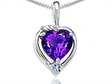 Tommaso Design™ Heart Shape Genuine Amethyst and Diamond Pendant