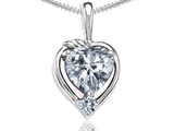 Tommaso Design Genuine Heart Shape White Topaz and Diamond Pendant