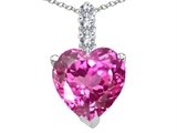 Tommaso Design™ Created Heart Shape Pink Sapphire and Diamond Pendant