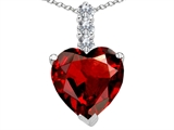 Tommaso Design™ Genuine Heart Shape Garnet and Diamond Pendant