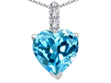 Tommaso Design Genuine Heart Shape BlueTopaz and Diamond Pendant
