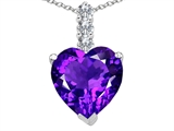 Tommaso Design Heart Shape Genuine Amethyst and Diamond Pendant