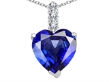 Tommaso Design™ Created Heart Shape Sapphire and Diamond Pendant