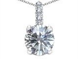Tommaso Design™ Genuine Round White Topaz and Diamond Pendant style: 302715