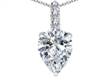 Tommaso Design™ Pear Shape Genuine White Topaz and Diamond Pendant