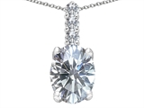 Tommaso Design Genuine Oval White Topaz and Diamonds Pendant