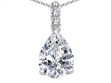 Tommaso Design Genuine Pear Shape White Topaz and Diamond Pendant