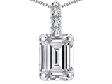 Tommaso Design Genuine Emerald Cut White Topaz and Diamond Pendant
