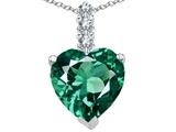 Tommaso Design™ Created Heart Shape Emerald and Diamond Pendant