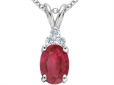 Tommaso Design™ Genuine Oval 8x6 Ruby and Diamond Pendant