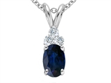Tommaso Design Genuine Oval Sapphire and Diamond Pendant