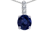 Tommaso Design™ Genuine Round Sapphire and Diamond Pendant