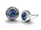 Original Star K Round Genuine Sapphire Earring Studs