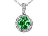 Tommaso Design™ Genuine Diamonds and Round Simulated Emerald Pendant style: 302735