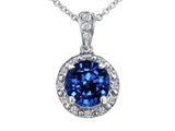 Tommaso Design Genuine Diamonds and Round Created Sapphire Pendant