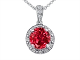 Tommaso Design™ Genuine Diamonds and Round Created Ruby Pendant