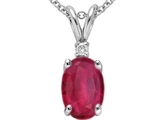 Tommaso Design Genuine Oval 7x5mm Ruby and Diamond Pendant