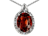 Tommaso Design™ Oval Genuine Garnet and Diamond Pendant
