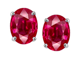 Tommaso Design Oval 8x6mm Created Ruby Earring Studs