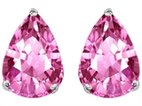 Original Star K Pear Shape 9x7mm Lab Created Pink Sapphire Earring Studs