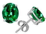 Original Star K Oval 8x6mm Simulated Emerald Earring Studs