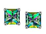 Original Star K™ Square 7mm Rainbow Mystic Topaz Earrings Studs style: 302780