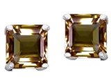 Original Star K Square 7mm Genuine Smoky Quartz Earring Studs
