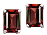 Original Star K™ Emerald Cut 8x6mm Genuine Garnet Earrings style: 302787