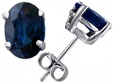 Tommaso Design™ Large Oval 8x6 Classic Genuine Blue Sapphire Earrings Studs style: 302798