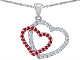 Original Star K Lab Created Ruby Double Heart Pendant