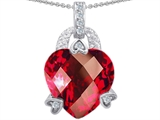 Star K™ Large 13mm Heart Shaped Created Ruby Designer Pendant Necklace style: 302837