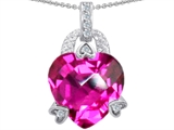 Star K™ Large 13mm Heart Shaped Created Pink Sapphire Designer Pendant Necklace style: 302838