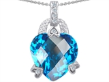 Original Star K Large 13mm Heart Shaped Simulated Blue Topaz Designer Pendant