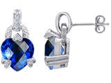 Original Star K™ Heart Shaped Large Created Sapphire Designer Hanging Drop Earrings