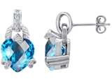 Original Star K™ Heart Shaped Simulated Blue Topaz Designer Hanging Drop Earrings