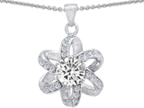 Original Star K Round Genuine White Topaz Flower Pendant