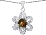 Original Star K Round Genuine Smoky Quartz Flower Pendant