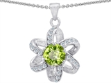 Original Star K™ Round Genuine Peridot Flower Pendant