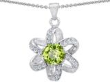 Original Star K™ Round Genuine Peridot Flower Pendant style: 302889